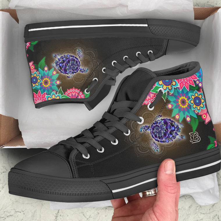 Sea Turtle Floral by AuroraArt - High Tops and Low Tops