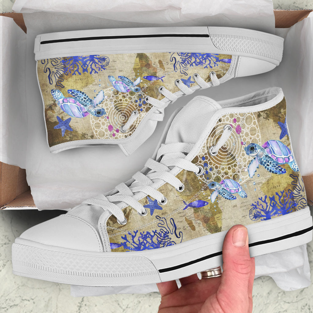 Live Free Sea Turtles by ZeusArt - High Tops and Low Tops Shoes