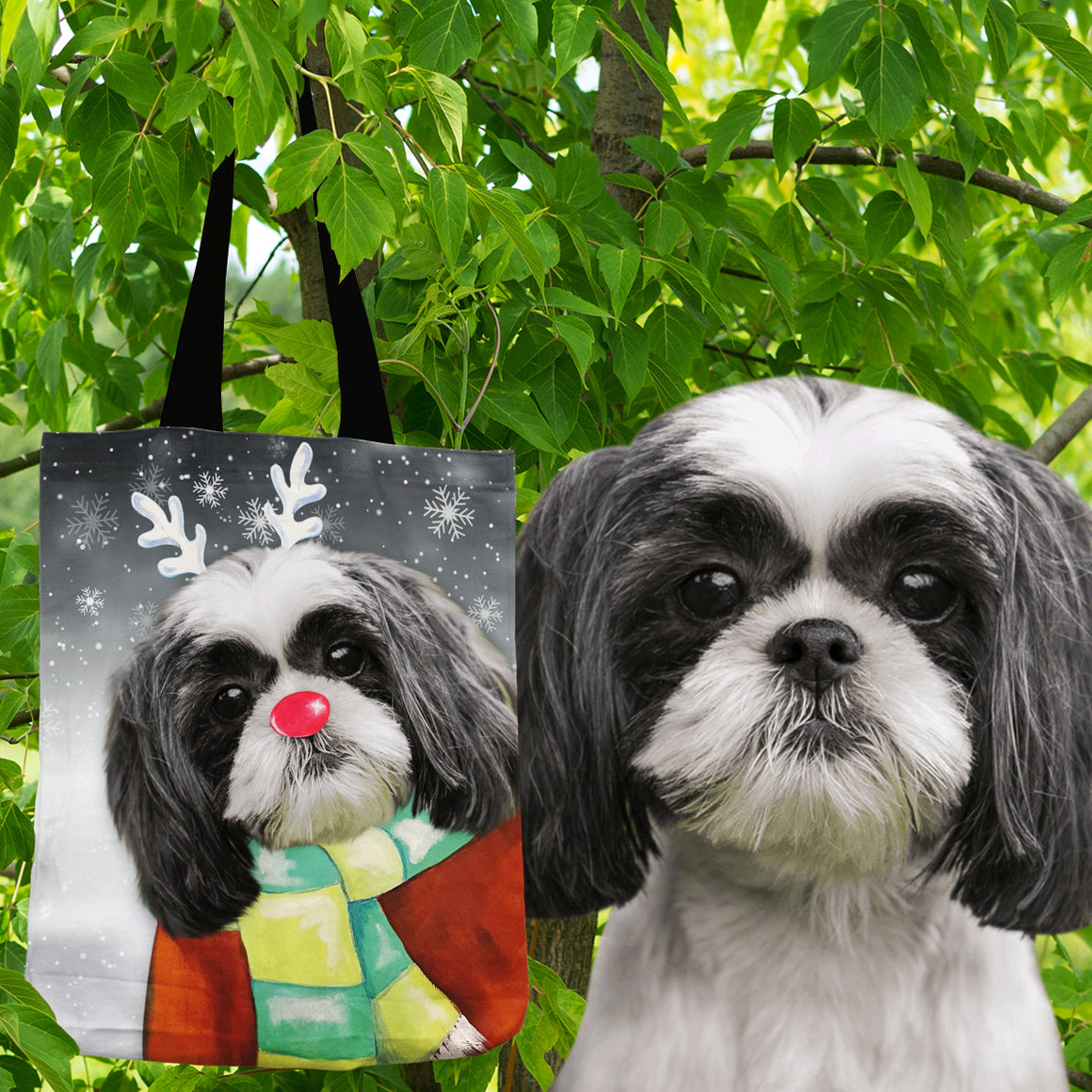 Santa's Rudolph the rednosed reindog - Personalized Shopping Tote Bag