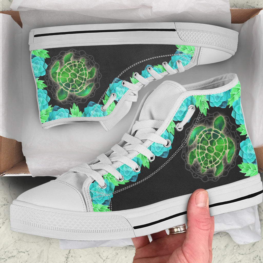 Turtle Teal by ZeusArt - High Tops and Low Tops