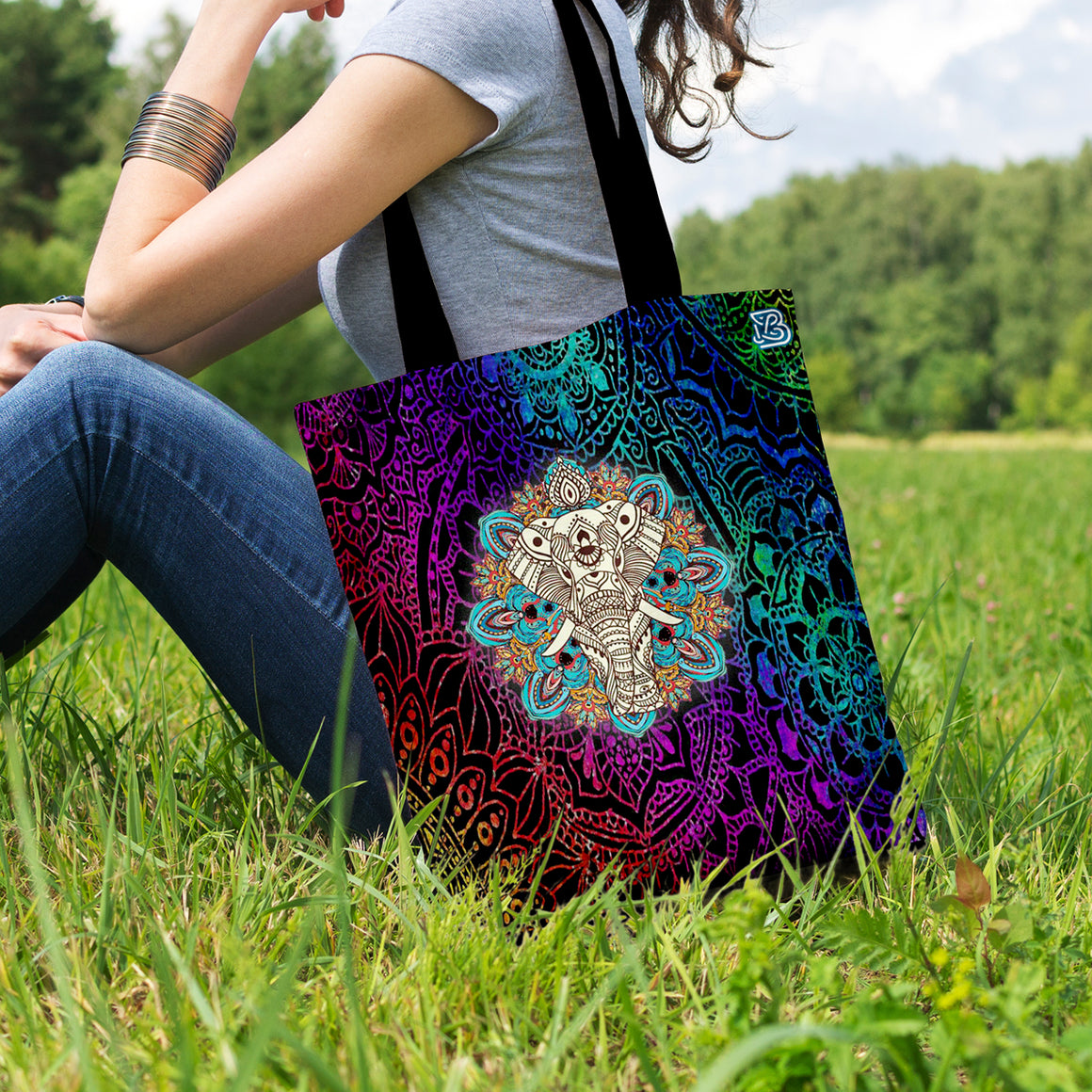 Majestic Elephant Mandala by LeslieOng - Shopping Tote Bag