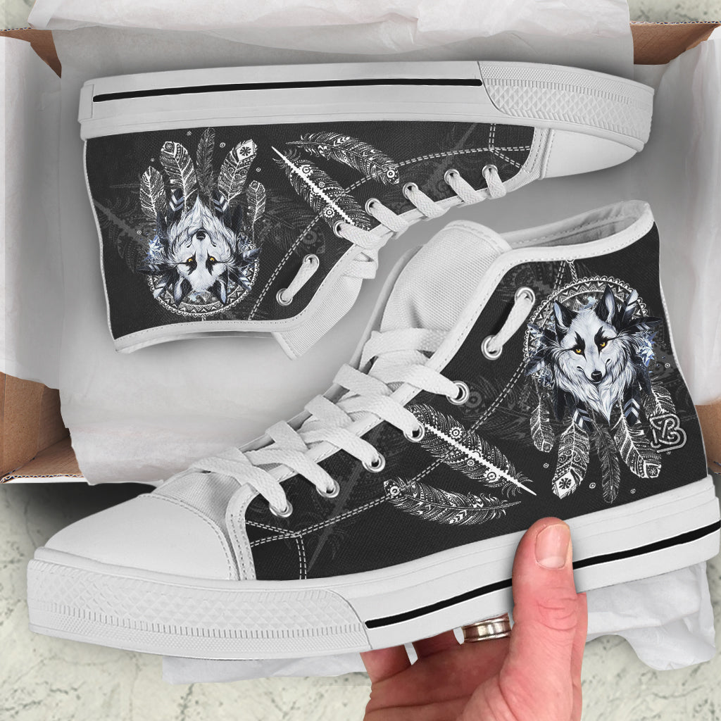 Wolf Dreamcatcher feathers by ZeusArt - High and Low Tops Shoes