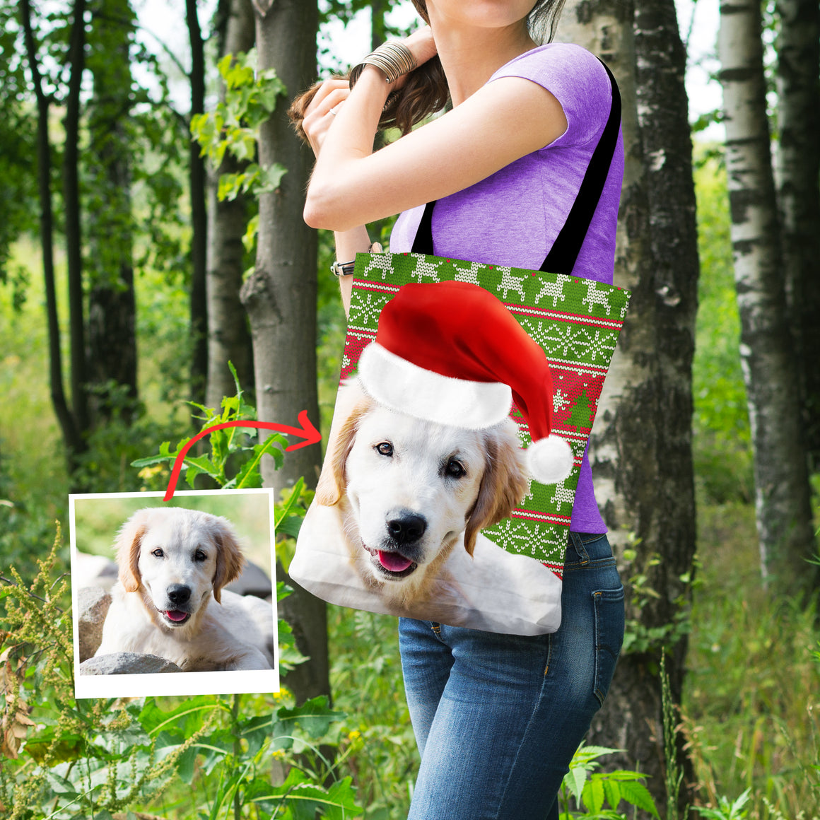 Personalized Xmas Themed Doggie Shopping Tote Bag