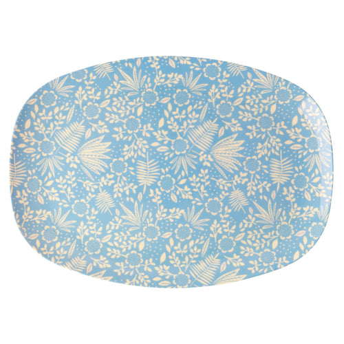 Blue Fern & Flower Rectangle Plate