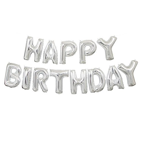 14 Inch Silver Happy Birthday Balloon Garland from Crosswear