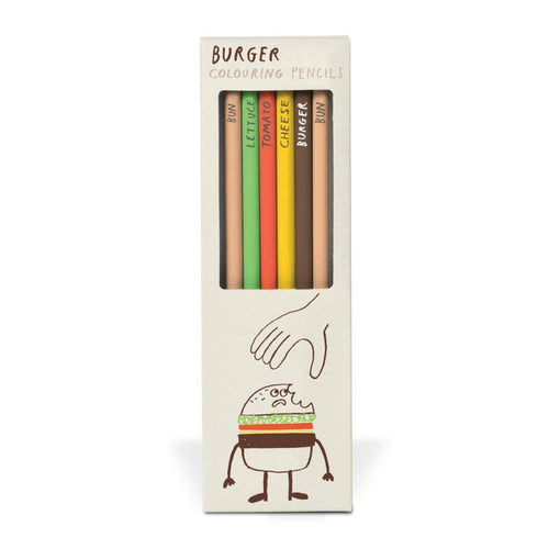 Box of 6 Burger Colouring Pencils from Ustudio