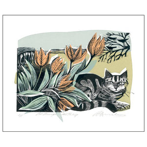 Angela Harding Cat amongst the Tulips from Art Angels