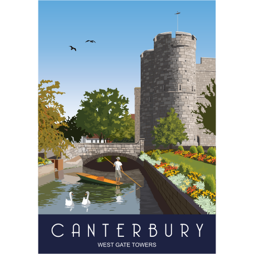 Canterbury Tea Towel - Westgate Towers from Star Editions
