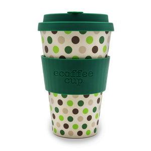 Green Polkadot 14oz Reusable Bamboo Cup from ecoffee