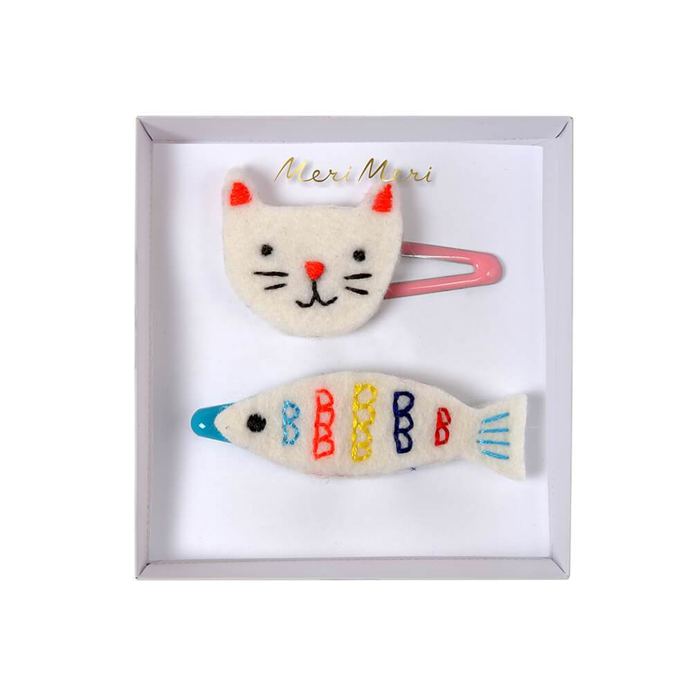Cat & Fish Hair Clips from Meri Meri