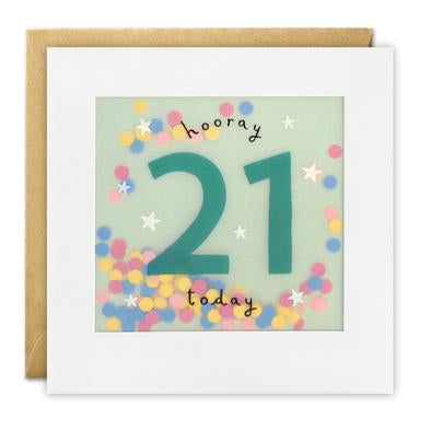 Age 21 Birthday Paper Shakies Card
