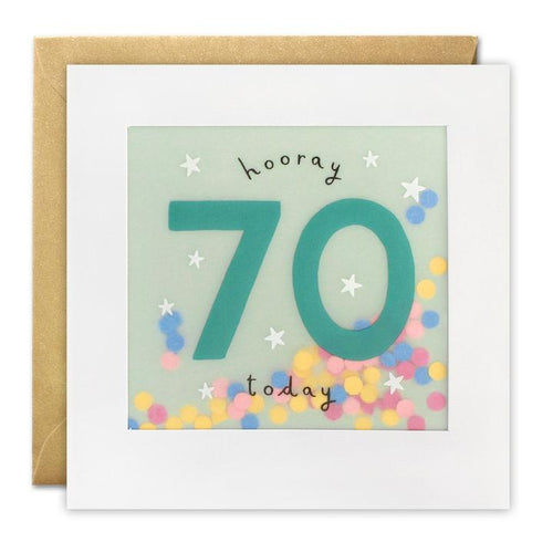 Age 70 Birthday Paper Shakies Card