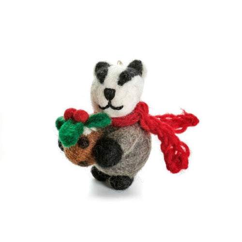 Badger with Pudding Hanging Felt Decoration