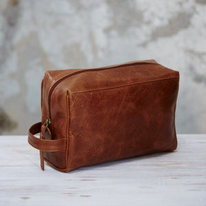 Brown Leather Washbag from Paper High