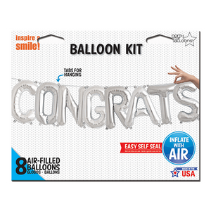 14 Inch Balloon Garland Congrats Silver from Crosswear
