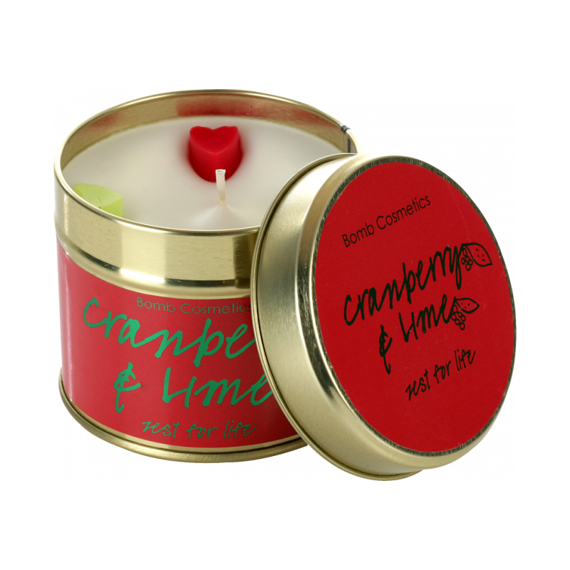 Cranberry Lime Tin Candle 35 hour from Bomb Cosmetics