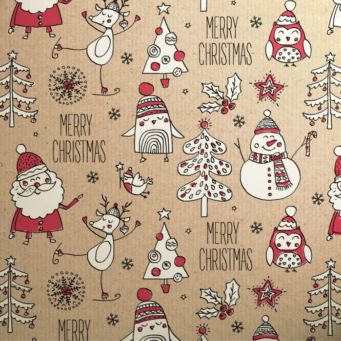 Doodles Red Icon Kraft Christmas 3M Roll Wrap