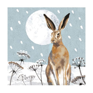 Christmas Fayre Hare and Moon Christmas Cards 8 Pack