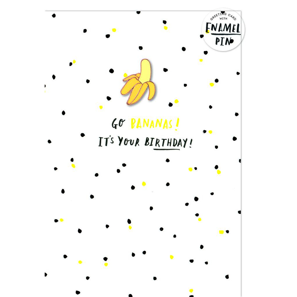 Banana Enamel Pin Badge Card from HotchPotch