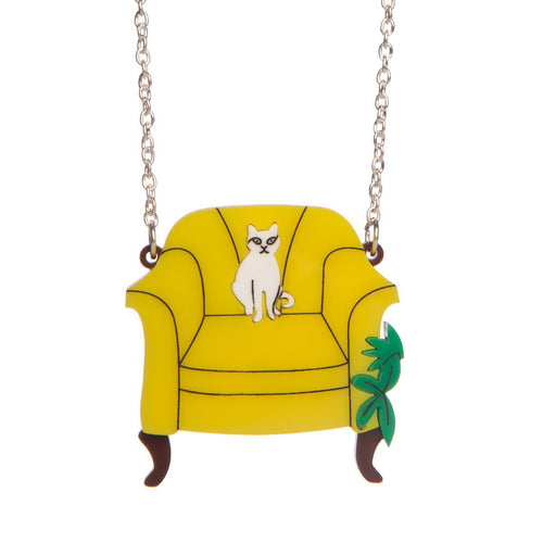 Cat On A Chair Necklace from Sugar & Vice