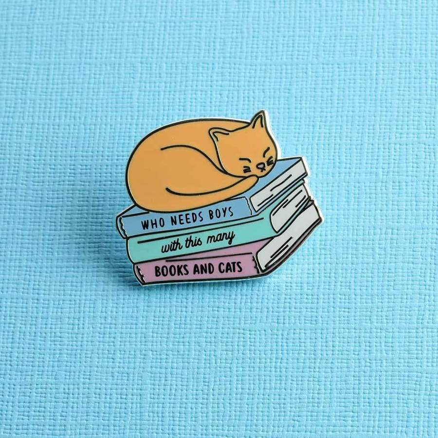 Books & Cats Pin
