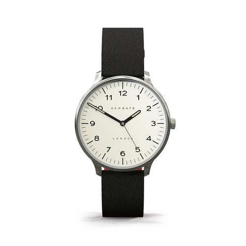 Blip Cream Dial Black Strap from Newgate