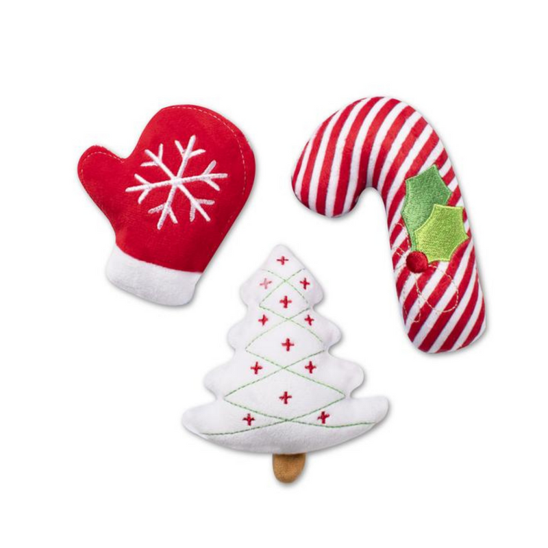 Mini Christmas Icons 3 Piece Plush Dog Toy Set