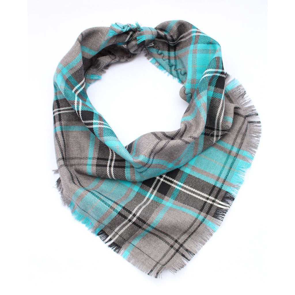Frayed Buffalo Blue Plaid Bandana - Pooch Luxury