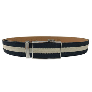 Women's Black Leather White Canvas One Stripe Golf Belt - golfcovers