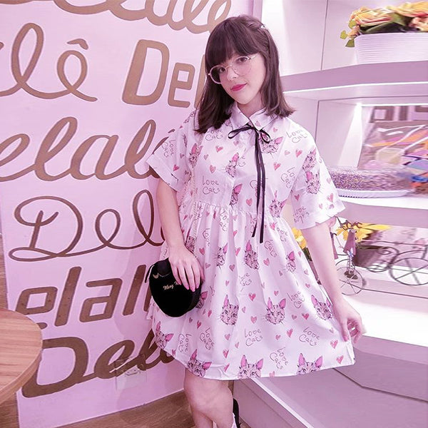 Cat Print Short Sleeve Dress PL20213