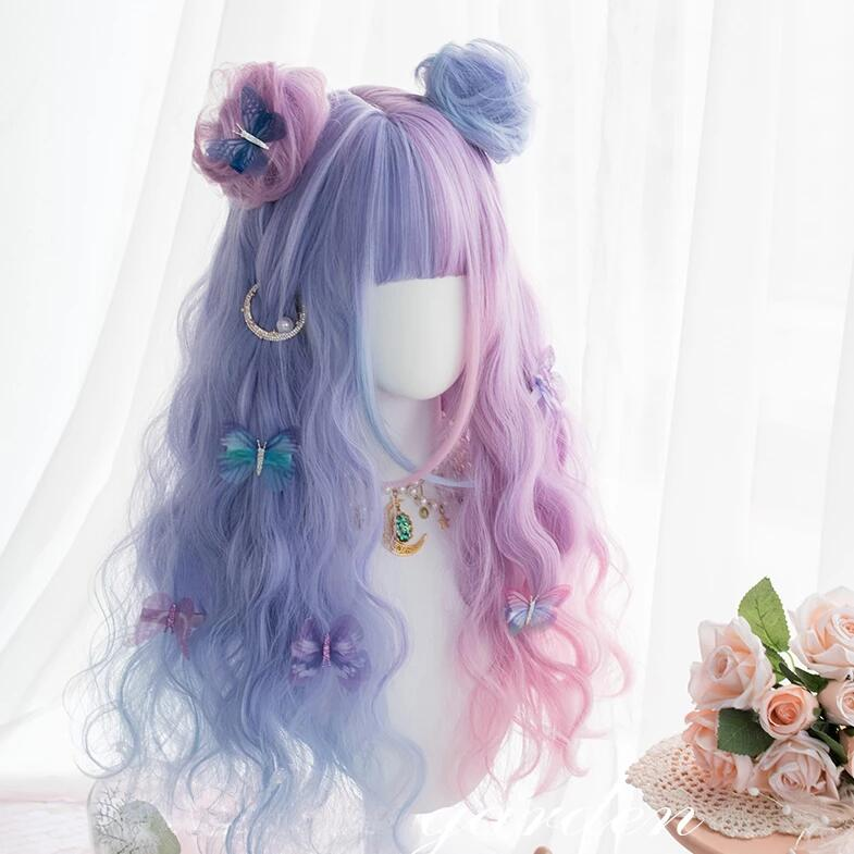 Harajuku stitching wig + hair bag PL20589