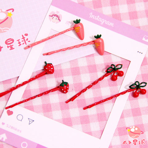 Lolita Fruit Strawberry Hair Clip (3 pieces)  PL20239
