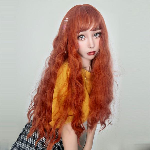 Cute orange curly hair wig  PL20590