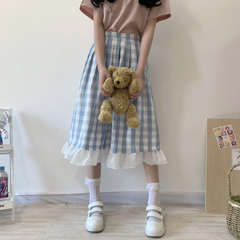 Blue plaid skirt PL50326