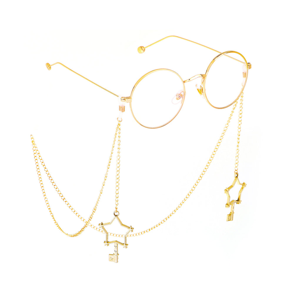 Golden glasses + glasses chain PL30019