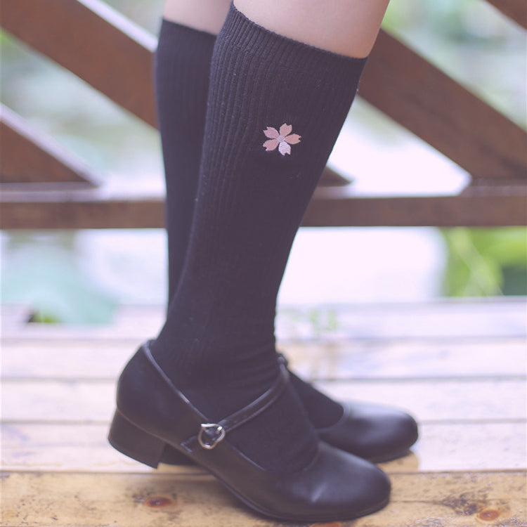 Sakura embroidered socks (two pairs) PL21256