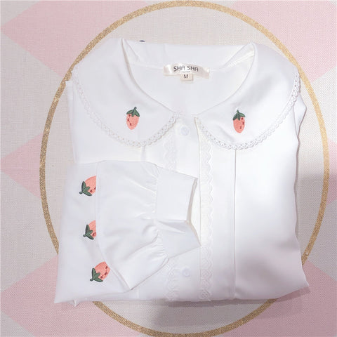 Strawberry Embroidered Long Sleeve Shirt  PL20041
