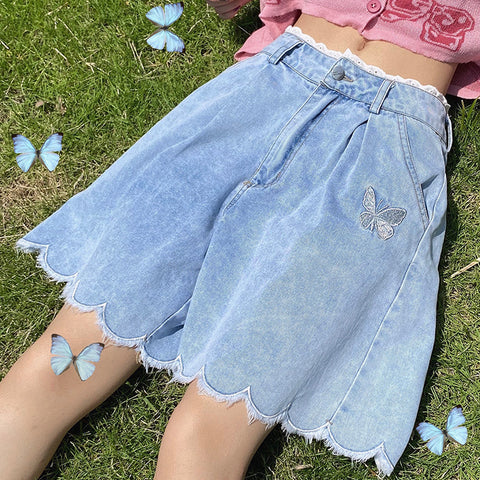 Butterfly Embroidered Denim Shorts PL50657