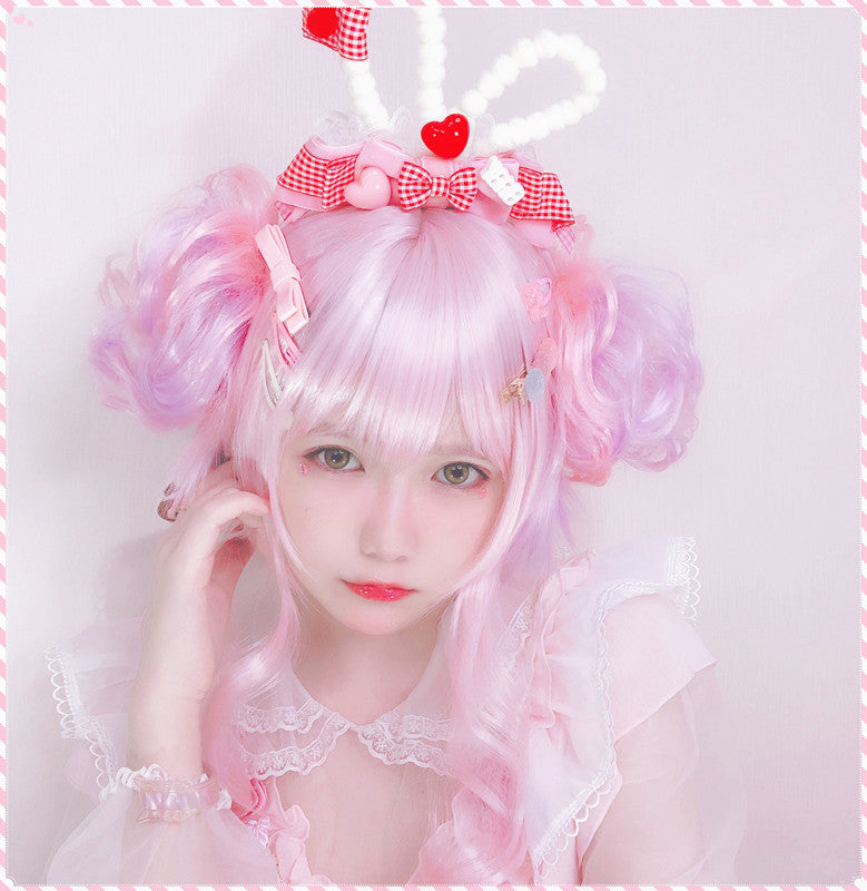 Pink hair bag wig PL50045