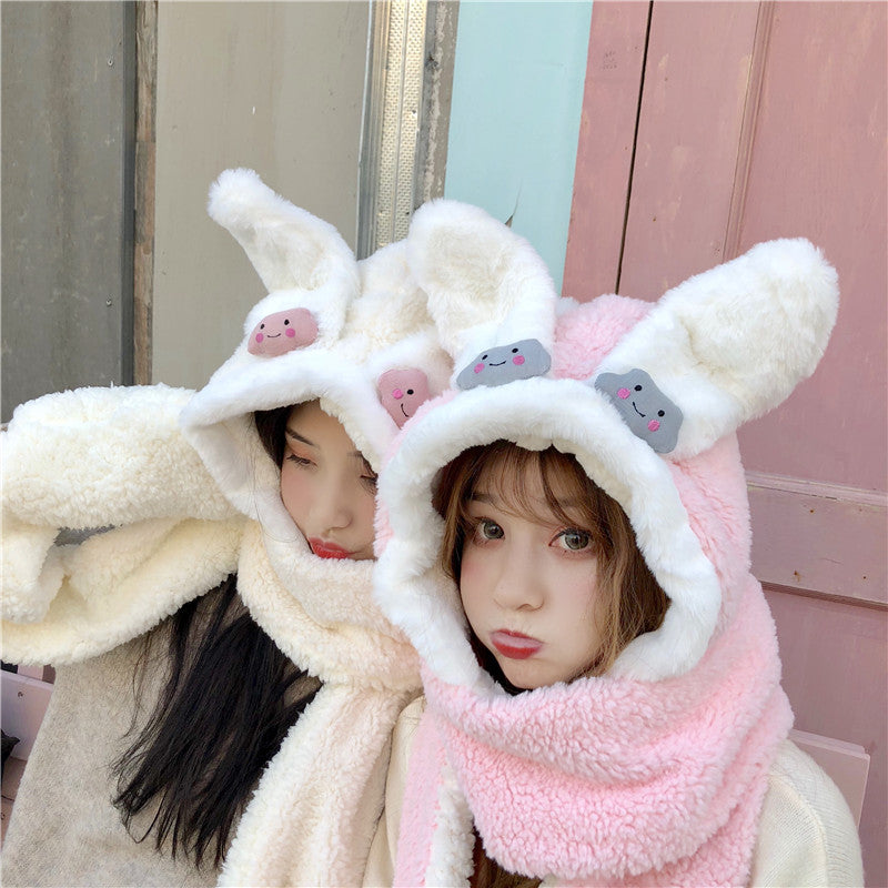 Cute plush rabbit ear hooded scarf PL21219
