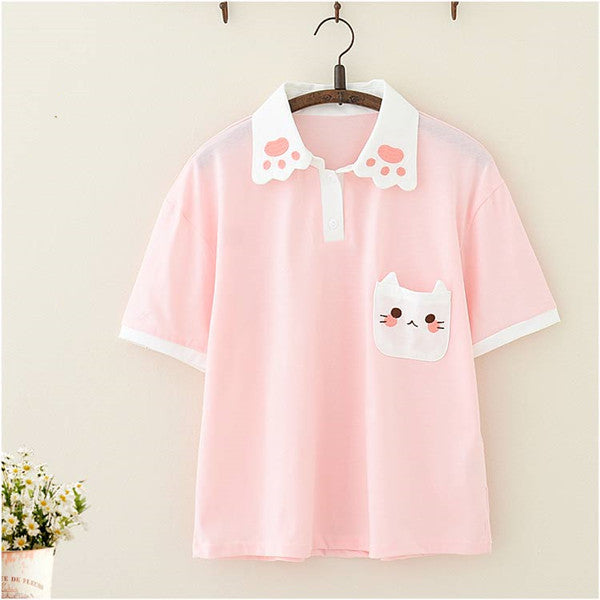 Harajuku cat embroidered T-shirt    PL50297