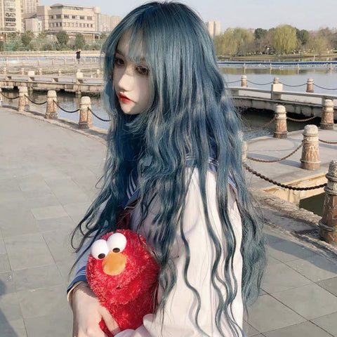 Blue Gray Long Curly Wig PL50021