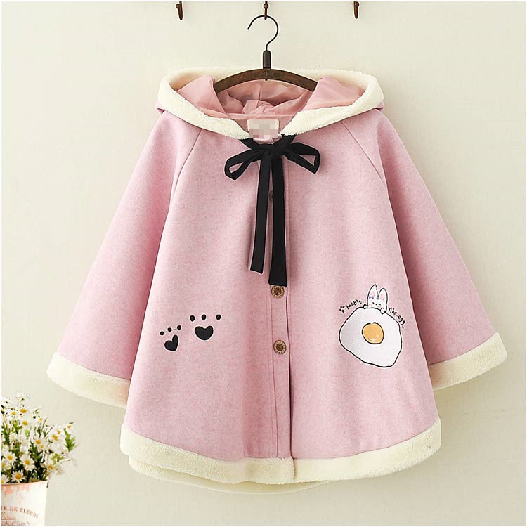 Rabbit ear hooded woolen cape coat PL21253
