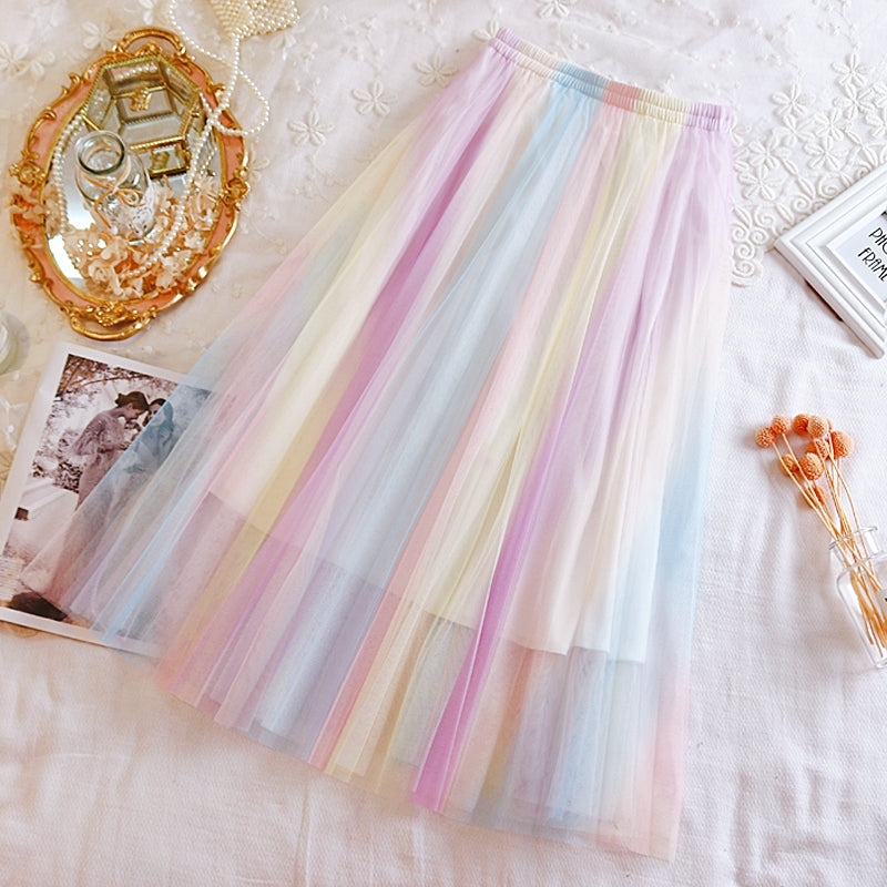 Rainbow mesh skirt PL21129