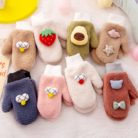 Cute cartoon plus velvet gloves PL21242