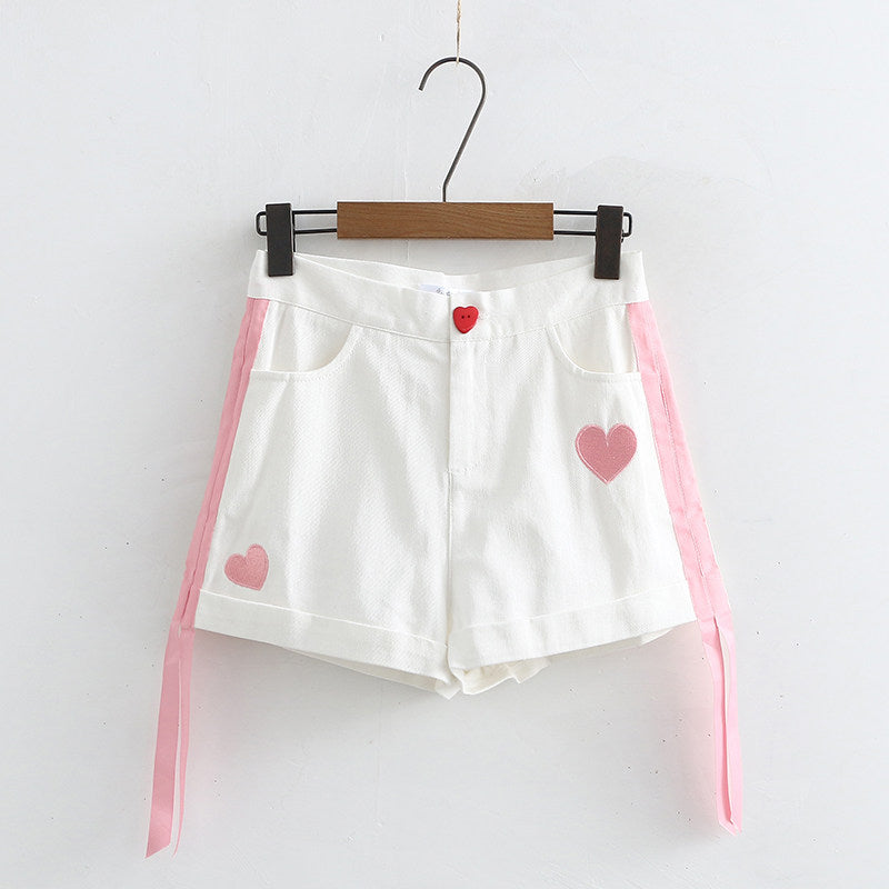 Embroidered casual shorts PL20731