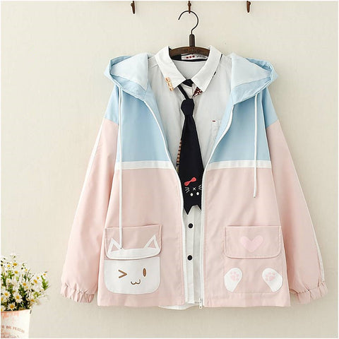 Cute cat print coat PL21241