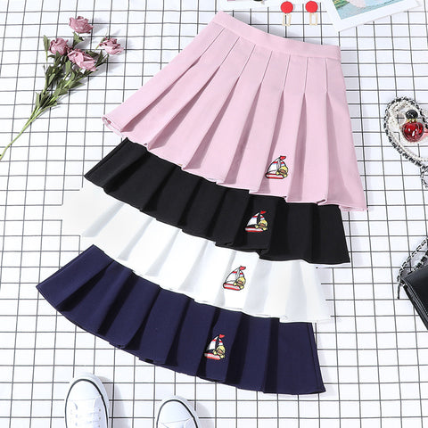 Embroidered pleated skirt PL50160