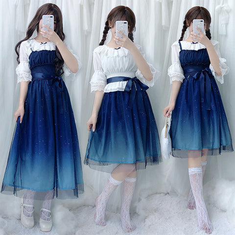 lolita starry sky gradient dress PL50290