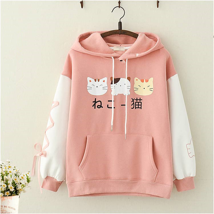 Cat print plus fleece sweater PL21249